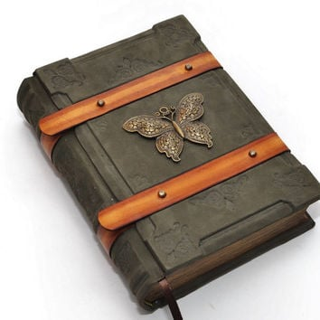 "Green Handmade leather journal , ""The Butterfly"" -8.1''x5.7'' (20,5x14,5 cm), in gift box"
