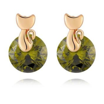 Small Cat Ear Studs   gold plated green zircon
