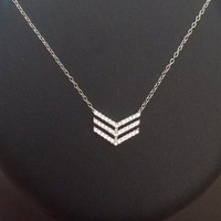 Sterling Silver Triple V Pendant CZ Necklace