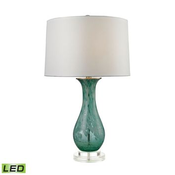 Swirl Glass LED Table Lamp in Aqua Aqua Swirl