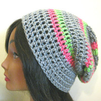 Gray Slouchy Hat Pink and Green Stripes