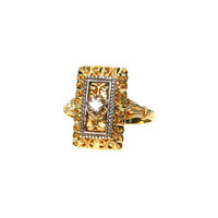 Edwardian Two Tone Gold Diamond Filigree Ring by Esemco