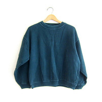 vintage dark green sweatshirt. cropped pullover sweater.