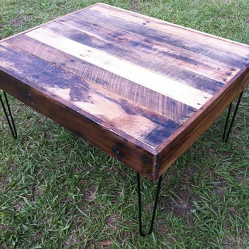 Reclaimed Barnwood Wood Coffee Table with steel hairpin legs-Upcycled and modern-upcycled recycled