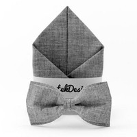 Set Bow Tie & Pocket Handkerchief set dark gray