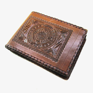 Vintage Mexican Brown Hand Tooled Leather Wallet