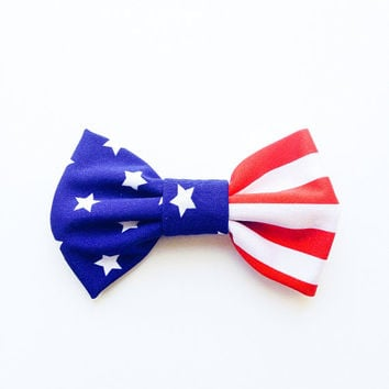 Cute Lovely Bow hair Clip Pop American art USA flag Star :) retro hair bow handmade by Love Factory