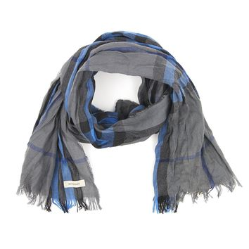 Burberry Lightweight Blue Check Merino Wool Cashmere Unisex Crinkled Scarf