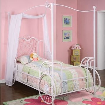 Princess Emily Carriage Canopy Antique White Finish Twin Size Bed