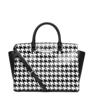 Michael Michael Kors Large Selma Zop Satchel in Houndstooth