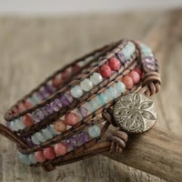 Triple wrap pastel bracelet. Beaded womens jewelry. Gift for her