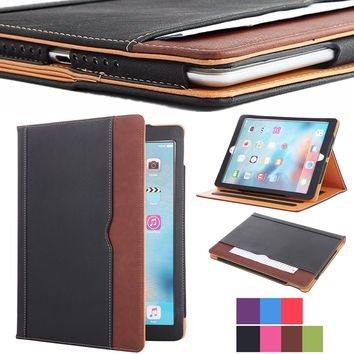 "Soft Leather Stand Folio Case Cover for iPad Pro 12.9"" with Multiple Viewing angles, Auto Sleep/Wake, Document Card Pocket"