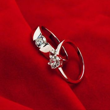 Designer Forever Love Wedding Rings Pair, Couple Rings Men Jewelry Big Size 12 Sterling Silver 925 and Zircon