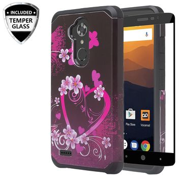 ZTE Max XL, ZTE Blade Max 3, ZTE Max Blue Case, [Include Temper Glass Screen Protector] Slim Hybrid Dual Layer [Shock Resistant] Case for Max XL - Heart Butterflies