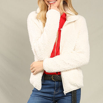 Faux Shearling Zip-Up Jacket