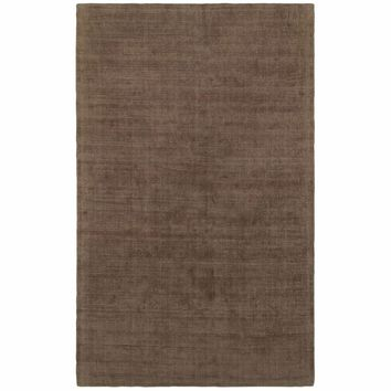 Mira Brown Brown Solid Distressed Casual Rug