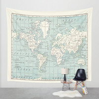 World Map Tapestry Wall hanging - vintage map, Blue and cream beautiful map, travel decor, wall decor atlas, den, bedroom, library