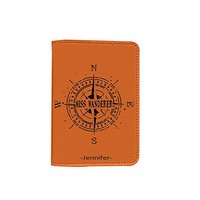 Mr Ms Miss Wanderer [Name customized] Leather Passport Holder/Cover Travel Wallet_SCORPIOshop