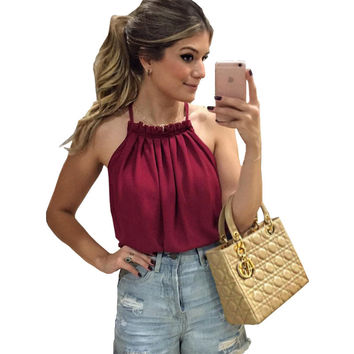 Europe US 2017 summer t-shirt women double collar pleated strapless halter casual t shirt bottoming small tape vestidos LH9004