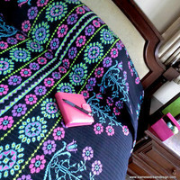 Vivid Pink, Blue, Green & Purple Hmong Bedspread
