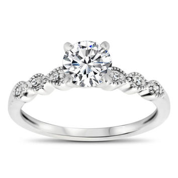 Thin Diamond Band Engagement Ring - Dainty Drops