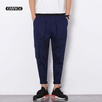Summer Thin Men's Casual Pants Fashion Mens Cargo Pants Multi Pocket Japan Style Trousers Hip Fop Cone Pant Q378