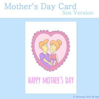 Mothers Day Card - Cute Card for Mom, Son Version Blank Card Printable, INSTANT DOWNLOAD