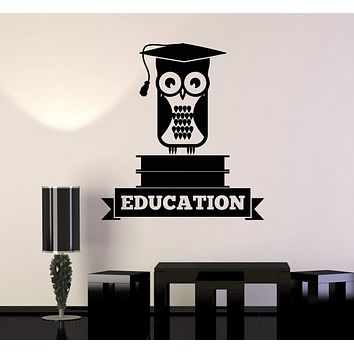 Vinyl Wall Decal Education Owl Books School University College Decor Stickers Mural Unique Gift (ig5140)