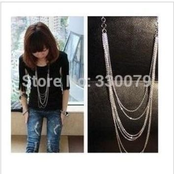 N204 Design Fashion Long Multilayer Tassel Necklace Vintage Jewelry Accessories