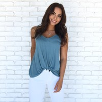 Just A Twist Jersey Tank Top In Blue
