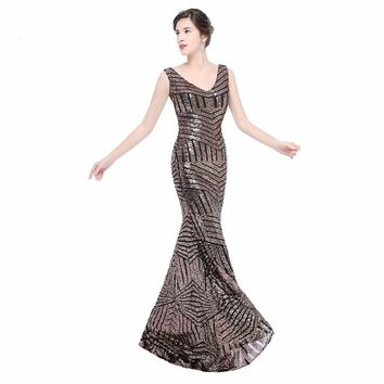 Glitter sequins long evening dress sleeveless floor length dresses mermaid zipper up formal party evening gown