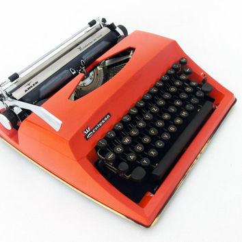 Vintage Typewriter, Manual Typewriter Orange,Contessa de Luxe Adler, Traveller Typewriter, Office Home Decor, Working Typewriter