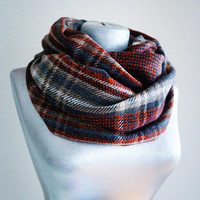 Handmade Plaid Infinity Scarf - Tweed - Blue Creme Orange Gray - Winter Autumn Scarf