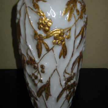 Art Deco Phoenix Consolidated Milk Glass Vase Painted Gold Berries