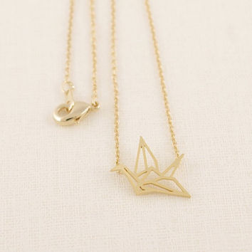 New Fashion Classic Lovely Origami Crane Chain Pendant Necklaces for Women Simple Origami Bird Animal Couple Necklace N006