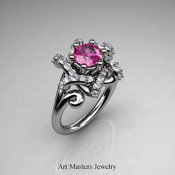 Classic Split Shoulder 14K White Gold 1.0 Carat Pink Sapphire Diamond Knot Engagement Ring R385-14KWGDPS