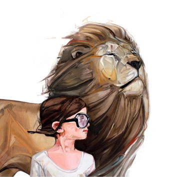 Lion illustration - Modern wall art - surrealism print - fine art print - living room decor - nursery decor - painting by McKenzie Fisk