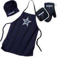 """Dallas Cowboys NFL Barbeque Apron , Chef's Hat and Pot Holder Deluxe Set"""