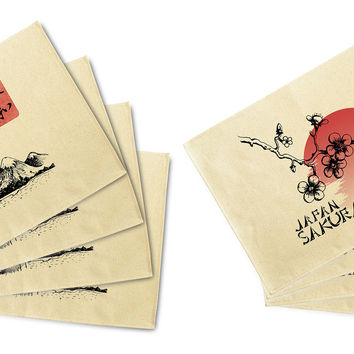 Japans Cherry Blossom Printed Canvas Placemats Set of 4