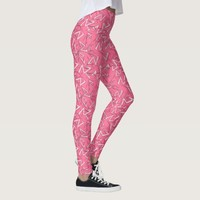White and Black Zigzags on Pink Leggings
