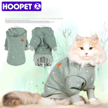 HOOPET pet dog cat clothes personality ink printing skin-friendly comfortable casual Hooded fleece bulldog