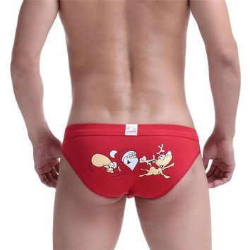 Woweile#W030 Christmas Mens Santa Claus Triangle Briefs Shorts Pouch Soft Underwear