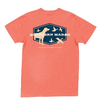 Branding Collection - Hunting Dog Tee in Washed Red Heather by Southern Marsh