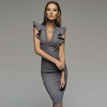 Spring Summer Popular Sleeveless Ruffle Elegant Bodycon Women Deep V-Neck Sexy Party Dress