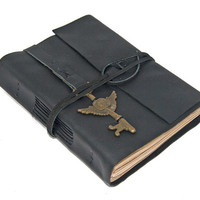 Black Leather Journal with Tea Stained Paper and Winged Clock Key Bookmark