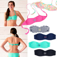 Monogrammed Swimwear, Misses Swimwear, Personalized Bathing Suits, Swimwear Separates, Misses Swim Tops and Bottoms