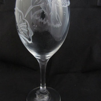 Hand engraved large wine glass, Humming bird and flower design, Red wine, white wine, wine o'clock, bird glass, birthday gift for her