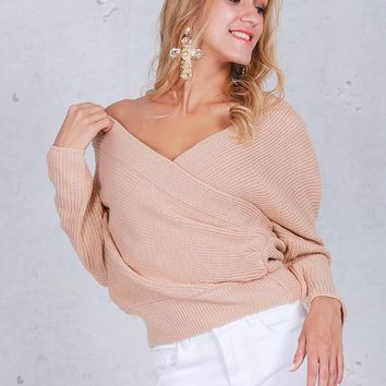 Simplee V neck sweater women Autumn winter loose long batwing sleeve sweater tops Fashion pullovers thin sweaters jumper 2016
