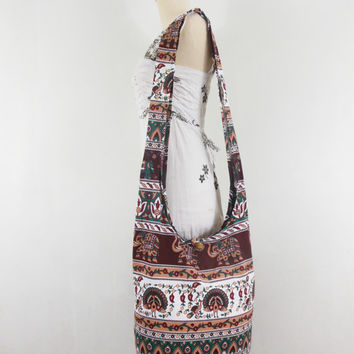 Vintage Boho Bag Hippie Hobo Peacock print Unisex handbags bohemian gpysy Sling Cotton Crossbody  Shoulder Messenger bag Purse