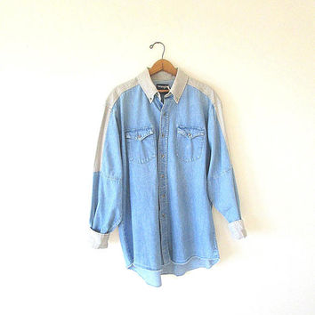 Vintage WRANGLER Denim Tan CHAMBRAY Western Button Down Shirt Sz 17 1/2-35 X Long Tails